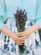 canvas print picture - bouquet of lavender in hands