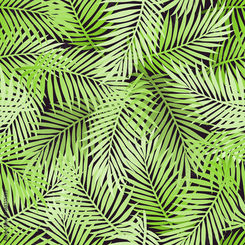 Spoed Fotobehang Tropische Bladeren Tropical party invitation design with palm leaves. Summer hawaiian flyer. Jungle palm tree leaves seamless pattern