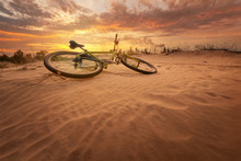 Bicycle In The Desert / Yellow Hot Sunset Late Summer