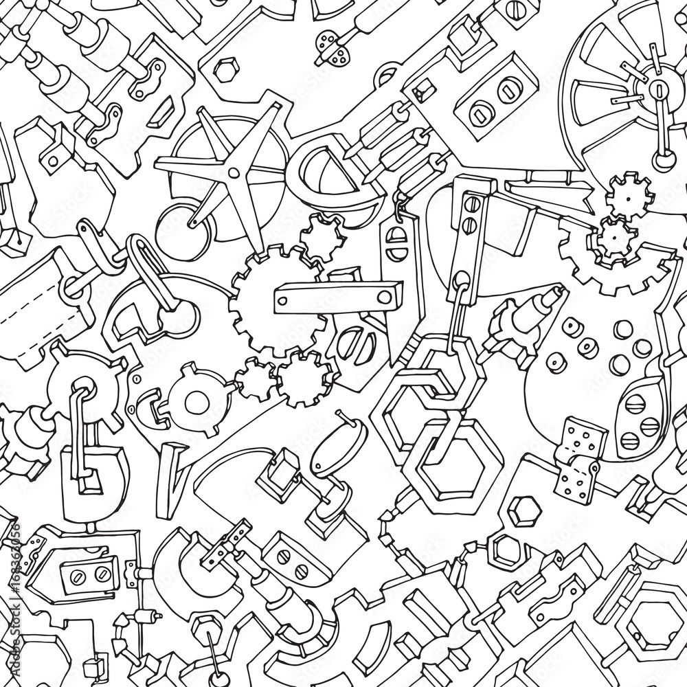 Seamless pattern made of various gears and technical details. Creative steampunk mechanical background. Vector illustration. Black contours on white background.