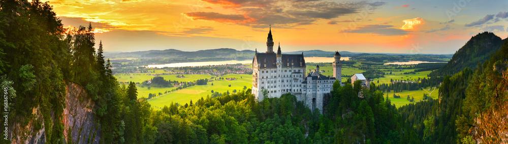 Fototapety, obrazy: Neuschwanstein castle at sunset, Germany