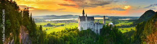 Printed kitchen splashbacks European Famous Place Neuschwanstein castle at sunset, Germany