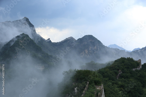 In de dag China beautiful landscape of the great wall in China