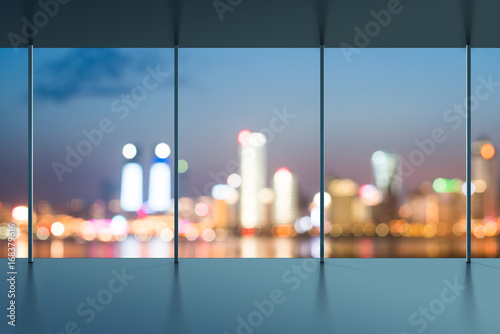 A bird's eye view of the city night view outside the window Canvas Print