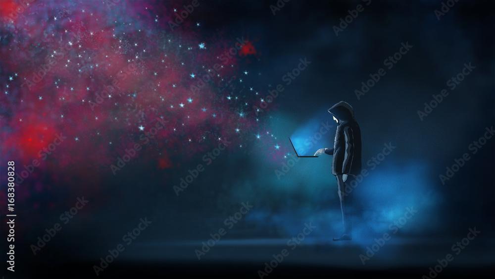 Fototapeta The hacker release the virus attack to online network. illustration digital painting artwork.