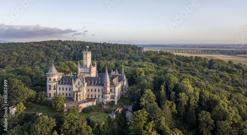 Poster de jardin Chateau Aerial view of a Gothic revival Marienburg castle in Lower Saxony, Germany