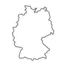 Germany Map Of Black Contour C...