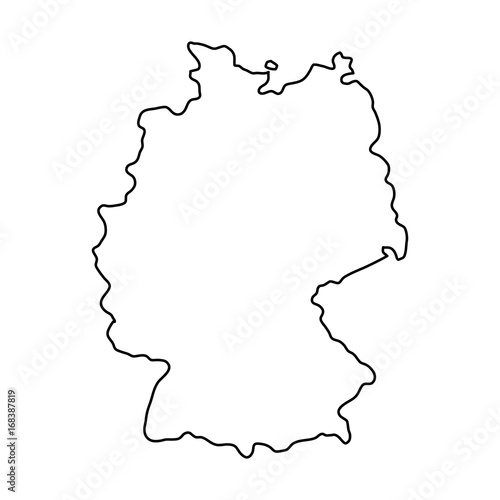 Fotografía  Germany map of black contour curves of vector illustration