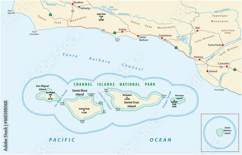 Map of the Channel Islands National Park – kaufen Sie se ... Channel Map on