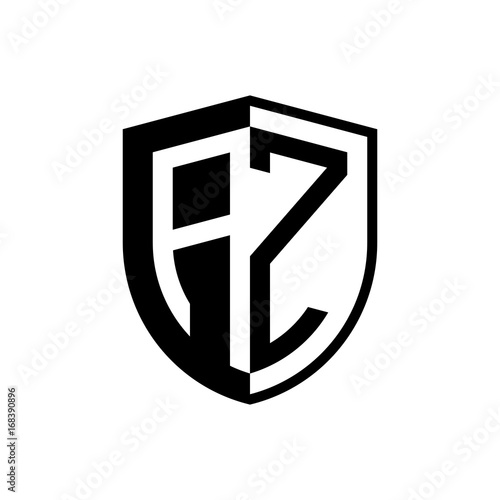 initial two letter logo shield vector black buy this stock vector