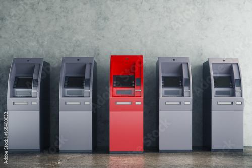 Fotografia, Obraz Grey and red ATM in concrete interior