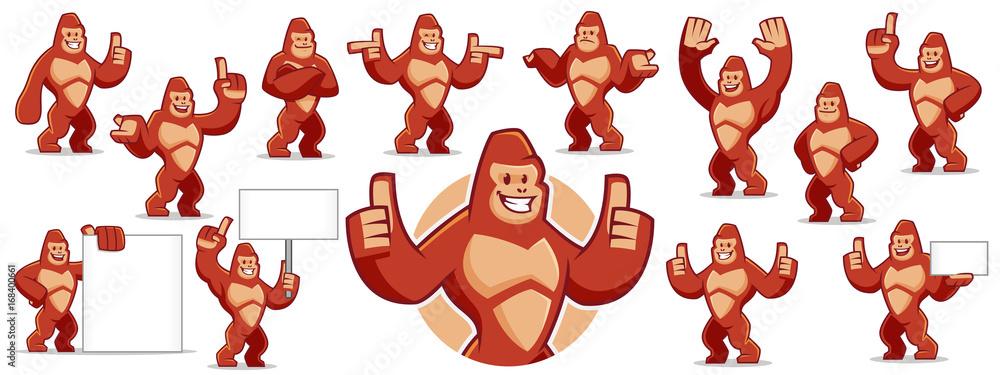 Fototapeta Gorilla mascot character set
