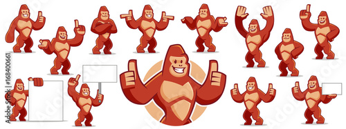 Photo  Gorilla mascot character set