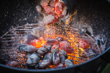 Barbecue With Hot Red Charcoal