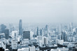 Bangkok cityscape high panorama. High view of buildings, river and traffic.