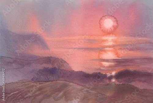 Poster Oranje eclat sunrise in dene landscape watercolor