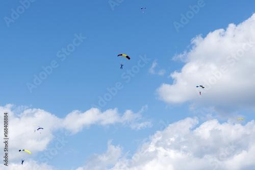 Deurstickers Luchtsport Russia, Kolomna, Aerograd, Many Landing skydiver.