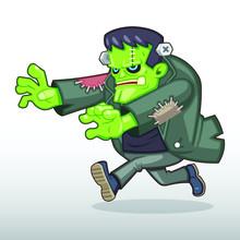 Frankenstein Monster Chasing Someone Illustration