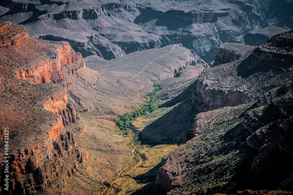 Picturesque sandstone cliffs of the Grand Canyon. Drought in Arizona
