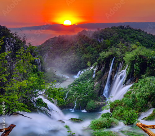 Keuken foto achterwand Watervallen sunrise over the waterfall in Plitvice ,Croatia