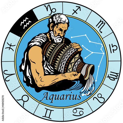Photo aquarius astrological horoscope sign in the zodiac wheel