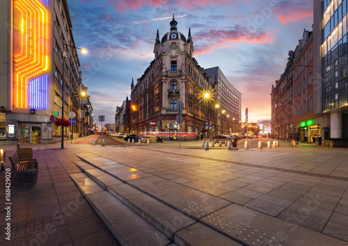 Central square of Katowice in dramatic sunset.
