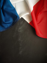 French Flag On Chalkboard Using As Background