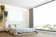 Gray and wooden bedroom, poster, side