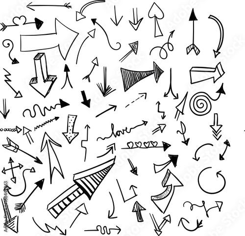 Pfeile Set verschiedene Formen Grafiken schwarz weiß Canvas Print