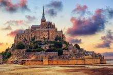 Mont Saint Michel Island, Normandy, France, On Sunset