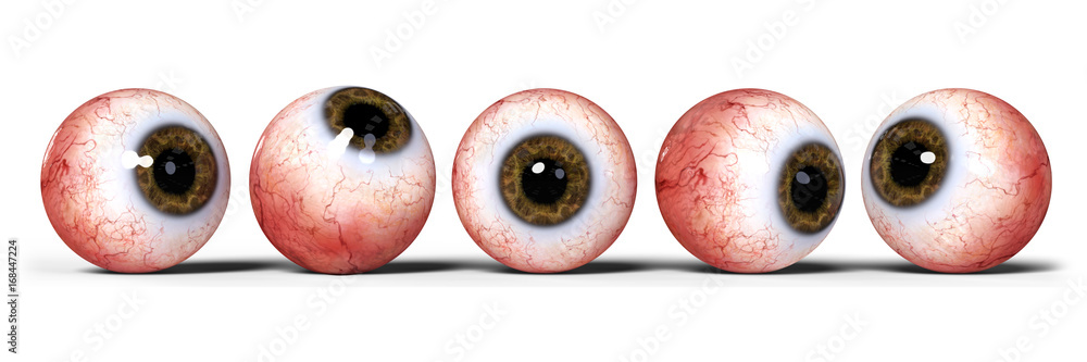 Fototapeta five realistic human eyes with brown iris, isolated on white background