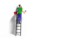 Miniature Figurine Character With Ladder And Red Paint In Front Of A Wall