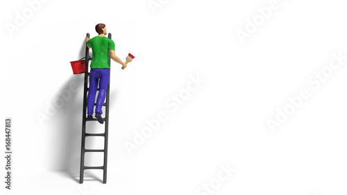 Foto  miniature figurine character with ladder and red paint in front of a wall