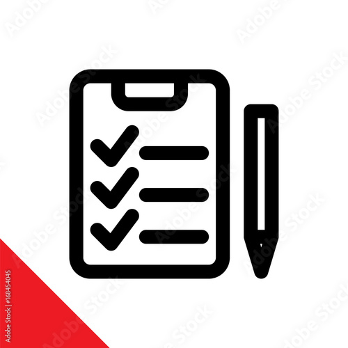 Inspection / assessment icon, illustrated with clipboard and pen Canvas Print