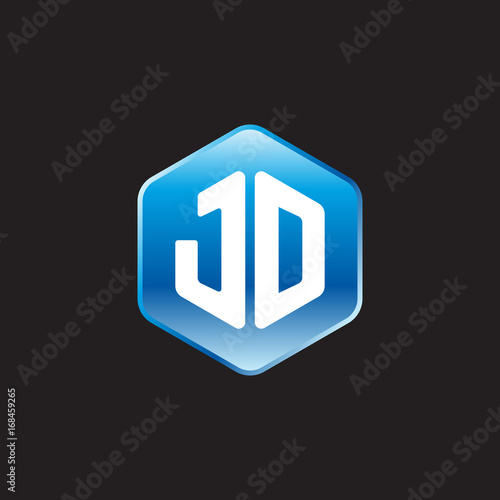initial letter jd modern glossy hexagon logo gradient blue color on black background buy this stock vector and explore similar vectors at adobe stock adobe stock adobe stock