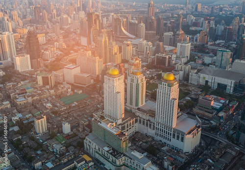 Aerial view City of Bangkok central business downtown, cityscape background, Tha Poster