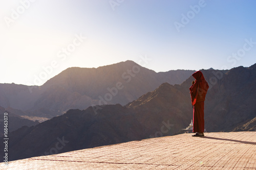 Fotografie, Obraz  Lama (Tibetan monk) gazing the mountain range and blue sky in Leh Ladakh
