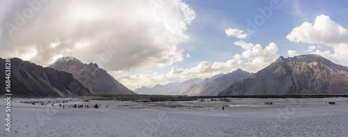 Panorama of sand dunes and moutains, Hunder sand dunes, Nubra valley, Ladakh