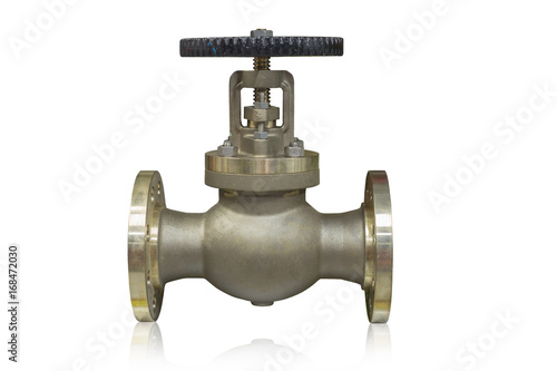 Cast brass globe valve used in oil and gas industry isolated on white background Wallpaper Mural