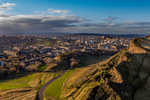 View Across Edinburgh From Salisbury Crags With Rain Clouds In The Distance