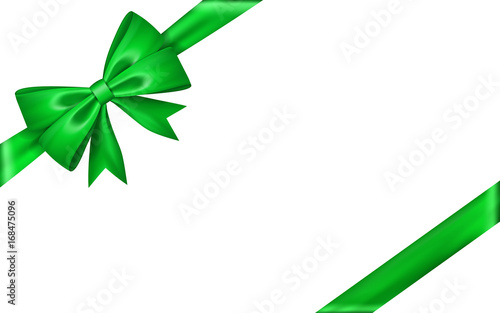 Green Christmas Bow Background Graphics: Gift Bow Ribbon Silk. Green Bow Tie Isolated White