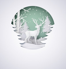 Fototapeta Las Deer in forest with snow in the winter season and christmas.vector paper art style.