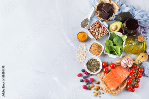 Foto auf Leinwand Sortiment Assortment of healthy food low cholesterol
