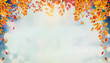 canvas print picture Beautiful autumn foliage background with brunches and falling tree leaves at sky  with bokeh