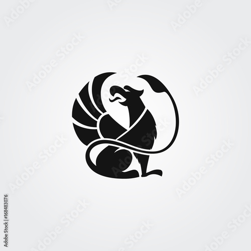 Fotografie, Tablou  Vector logotype griffin in circle