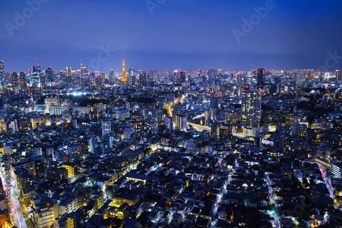 Plakat Nocny widok Tokio