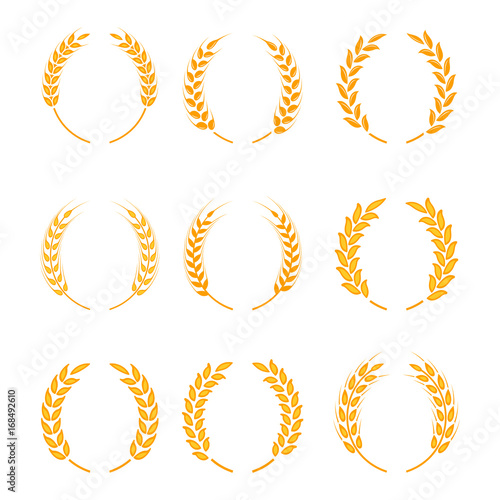 Gold Laurel Wreath A Symbol Of The Winner Wheat Ears Or Rice