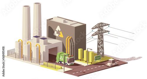 Fotografía  Vector low poly waste-to-energy plant