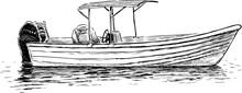 Sketch Of A Pleasure Motorboat