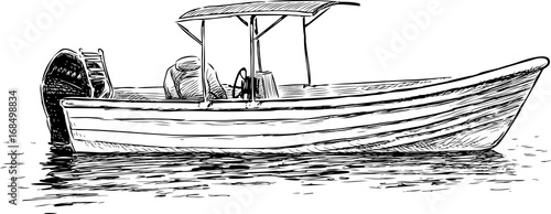 sketch of a pleasure motorboat Tapéta, Fotótapéta